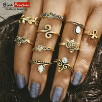 (several types) 2017 New arrival Ancient vintage Carved Bohemian style resin Rings Statement Jewelry Accessories RPY085-092