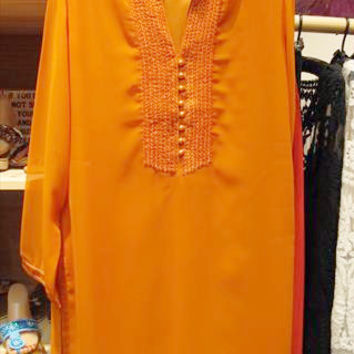 Orange Tunic with Stitched Placket