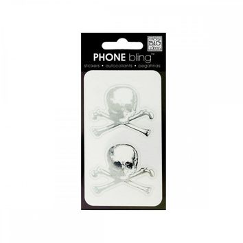 Skull And Crossbones Phone Bling Removable Stickers CG122