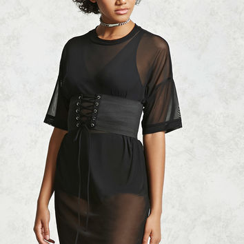 Sheer Corset T-Shirt Dress