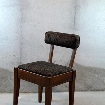 SALE - Beautiful Dark Brown Mid Century Modern Danish Sewing Chair, Vintage Chair, Wood Storage