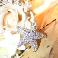 Rhinestone Starfish Hair Pin Destination Nautical Wedding Accessory