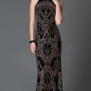 Sleeveless Floor Length Glitter Print Dress by Jump