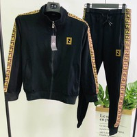 FENDI 2018 autumn new fashion cardigan suit spring and autumn sportswear two-piece Black