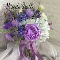 modabelle Purple Wedding Bouquet For Brides Hand Holding Flowers Artificial Bridal Bouquet Mariage Rose Peony Ramos Verdes