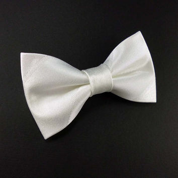 White satin bow tie – clip on style bridal white striped bowtie – mens or womens adult size – wedding bowties