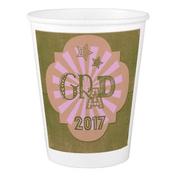 Grad 2017 Pink Paper Cup for party celebrations!