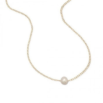 """16"""" + 2"""" Gold Filled Floating Cultured Freshwater Pearl Necklace"""
