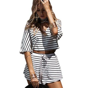 ONETOW 2017 Summer Cotton Bandage Striped Two Piece Set Women Top and Pant ensemble femme sold by set