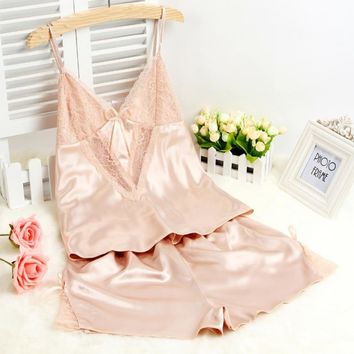 sexy summer pajamas for women pyjama femme adult minion pajamas sleepwear deep v sleeveless suspenders lingerie set LM75