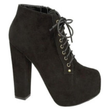 Sure-1 Retro Lace Up Chunky Heel Ankle Boot - Cutesy Originals