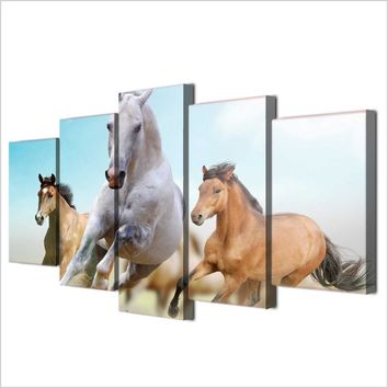 5 piece canvas art horse horses running galloping modern wall picture for living