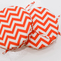 Tangerine Chevron 14 Round Bistro Cushions (Set Of 2)