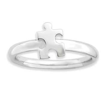 Sterling Silver Stackable Exp. Rhodium-plated Awareness Puzzle Piece Ring
