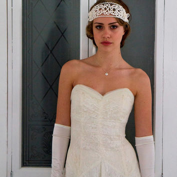 Art Nouveau 1920s 1910s Bridal Headpiece, Headdress, Flapper Tiara in ivory cream, birdcage veil.Downton Abbey,The Great Gatsby