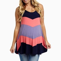Navy Pink Lavender Chevron Maternity Tank Top