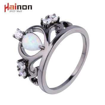 New Arrival Black Gun Plated Elegant Crown Shaped Fire Opal Ring With AAA Cubic Zircon Best Gift Wedding Ring White Opal