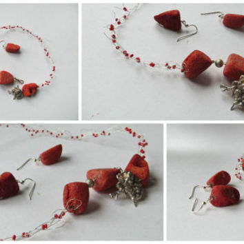 Raw Red coral silver necklace - Rough knits Bubble Jewelry with a beautiful silver clasp