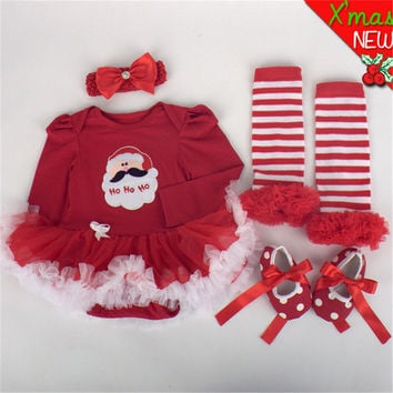 HOT Sale Baby Boy Girl Clothing Sets Christmas Clothes Infant 4pcs Romper Tutu Dress/Jumpsuit Baby Pants Newborn Costumes Roupa