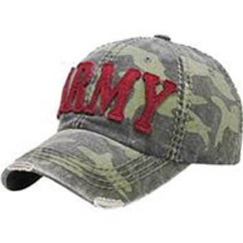 CAMOUFLAGE Green ARMY DISTRESSED AND FADED  Baseball HAT /CAP