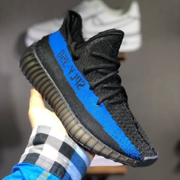 hcxx A1462 Adidas Yeezy Boost 350V2 Flyknit Breathable Running Shoes Black Blue