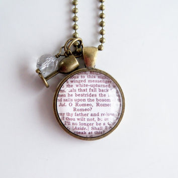 Romeo and Juliet Necklace - Shakespeare Quote Pendant - Custom Jewelry - Literary Jewelry - Book Lover - O Romeo, Romeo - Inspirational