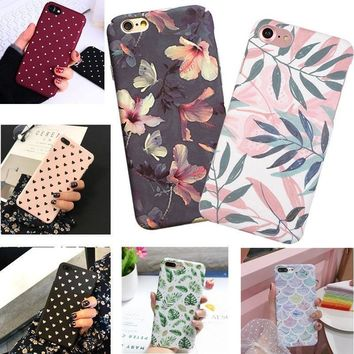 For iPhone 6 6s 7 8 Plus X Shockproof Pattern Thin Hard PC Matte Back Case Cover