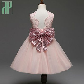 Pageant Toddler Girls clothes Bow Tie lace evening party dress Kids wedding dresses for girls princess dress 1 2 4 6 7 Years