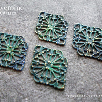 6pcs ∙ AQUA | Patina Ornate European Filigree Diamond Vintage Green Faux Verdigris Victorian Floral Lace Wrap Jewelry Supplies