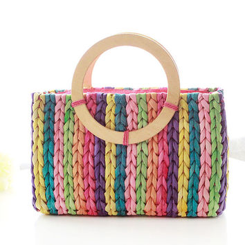 Summer handbags grass green wooden handle for the beach bags