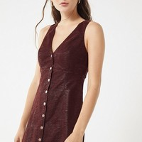 UO Sunshine Faux Leather Button-Front Dress | Urban Outfitters