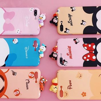 Cute 3D Mickey Minnie Pooh Donald Duck Daisy bear Sleeping Doll Cartoon soft phone case for iphone 6 S 7 8 plus X cover