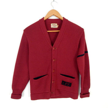 Vintage 50s Maroon and Black Wool Varsity Sweater - Jack Frost Single Stripe School Red Letterman Cardigan Sweater - Extra Small