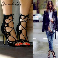 Rumbidzo 2017 Fashion Women Pumps Women Shoes Sandals Lace up High Heels Cut Outs Summer Open Toe Sapato Femininos Plus size 43