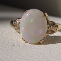 Vintage 14k solid yellow gold oval opal diamond ring antique art deco size 5