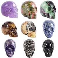 Handmade Natural stone skull Crystal Carved statue