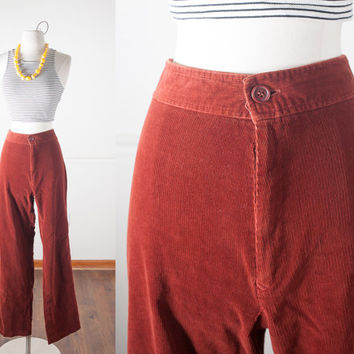 1970s Bell Bottom Pants / Rust Corduroy Pants / High Waisted Pants / Vintage 70s Pants / Wide Leg Pants / 70s Flares / 1970s Bohemian Pants