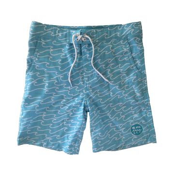 Walk-Surf-Swim Shorts in Blue Waves Print- Kid's
