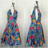 Vintage 1980s Checkered Halter Geometric Art Deco Floral Dress