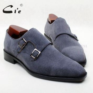 Square Toe Double Monk Straps Dark Grey Suede Handmade 100% Genuine Calf Leather Shoes
