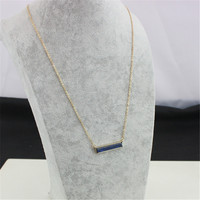 Trendy  minimalist style a word pendant necklace Lapis lazuli Semi Stone Necklaces fashion jewely for Women 2015 Christmas Gift