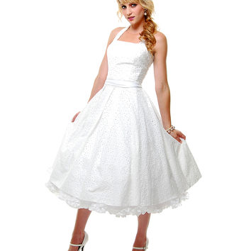 BEST SELLER! Unique Vintage Off White Cotton Eyelet Flirty Halter Swing Dress - Unique Vintage - Prom dresses, retro dresses, retro swimsuits.