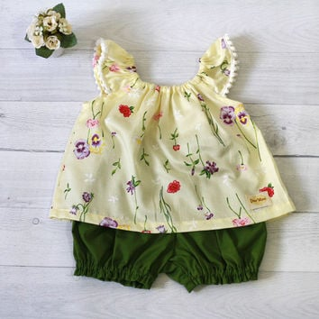 Baby Girl Clothes, Spring Floral top with green bloomer,