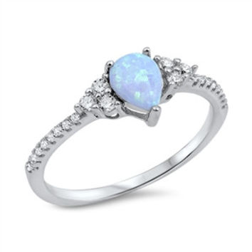 925 Sterling Silver CZ Simulated Diamond and Lab Light Blue Opal Teardrop Center Designer Ring 7MM