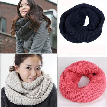 13 colors Winter Scarf Women Infinity Knitted Scarf Cashmere Circle Neck Scarf women Super Chunky Loop Snood Unsex Solid Crochet
