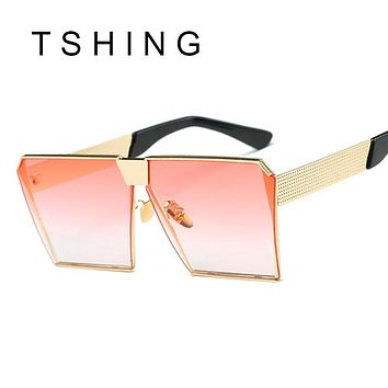 TSHING Men Women Steampunk Square Sunglasses New Fashion Large Clear Lens Metal Mirror Sun Glasses For Male Female