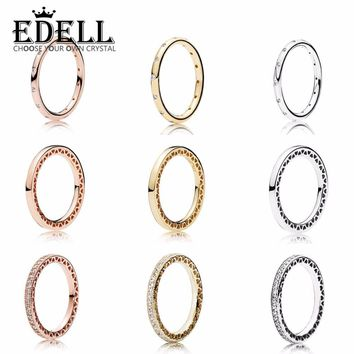 EDELL 925 Sterling Silver Wedding Party Ring Charm with cubic zirconia Fit Women's Ring Birthday party Charm Gift