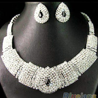 Wedding party bridal black diamante crystal necklaces earring set jewelry prom