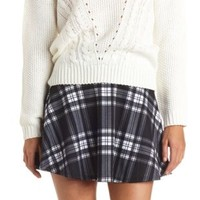 High-Waisted Plaid Skater Skirt by Charlotte Russe - Black/White