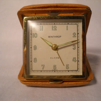 Vintage Travel Alarm Clock Leather Case Winthrop Germany